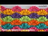 Bello punto de abanicos calados con borde popcorn tejido a crochet - Tejiendo Perú