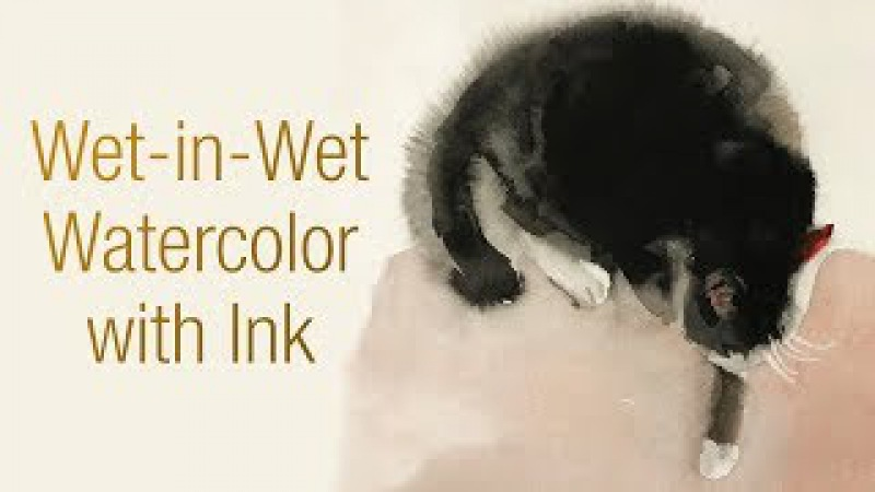 Watercolor animal painting of cat with wet-in-wet 1