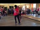 Terry Tauliaut and Marta Khanna dancing after salsa in couples class in Arriba dance school
