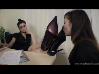 Foot fetish office фут-фетиш офис girl slave licking shoe #femdom #nylon #stockings #heels