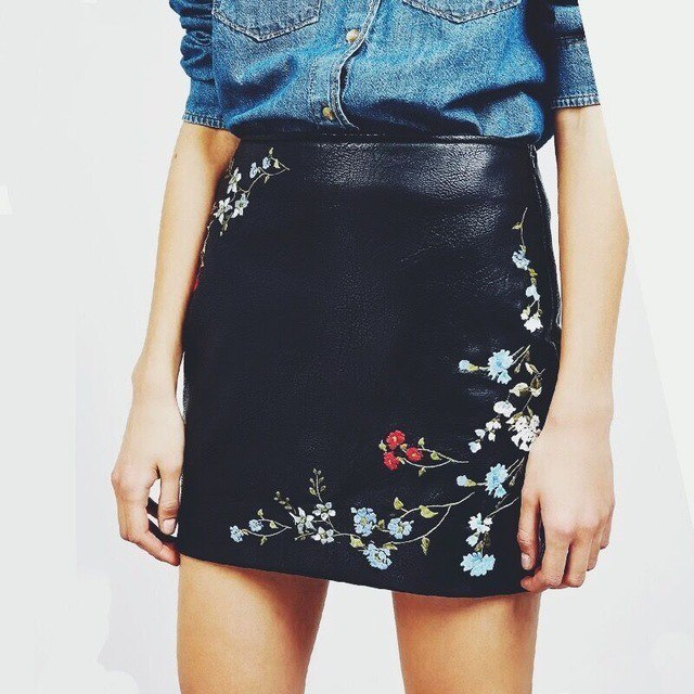 Кожаная юбка 5 цветов