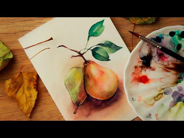 Как нарисовать груши акварельными красками ♡ Осенний скетч акварелью Katerina Rise