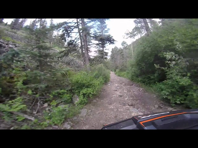 Riding a Polaris Rzr XP 4 1000 down Pioneer Trail in Red River, NM