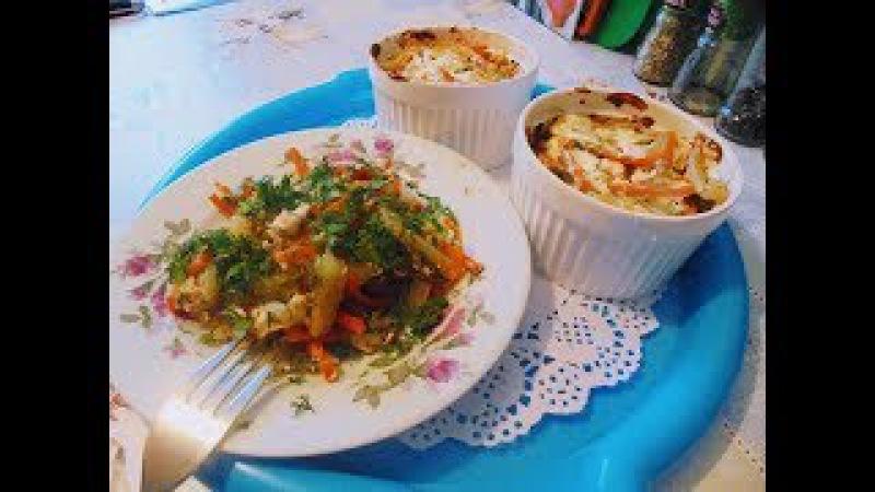 Вторые блюда Полезный обед Жаркое порционно Из куриной грудки картофеля моркови и зелени