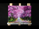 Beautiful Cherry Blossoms Road Acrylic Painting (canvas size: 12 x 16)