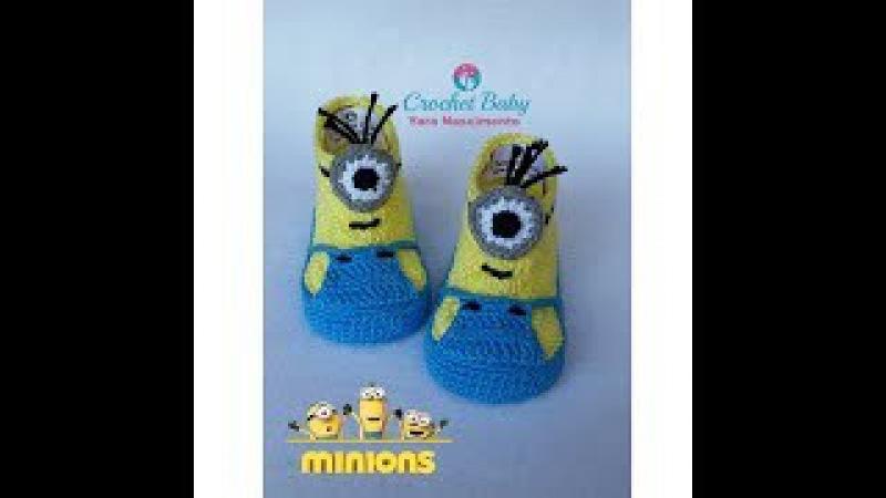 Botinha do MINIONS de crochê - Tamanho 09 cm - Crochet Baby Yara Nascimento PARTE 02