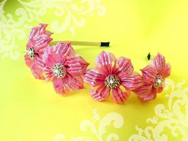 Праздничный ободок с цветами из узкой ленты Канзаши мастер класс