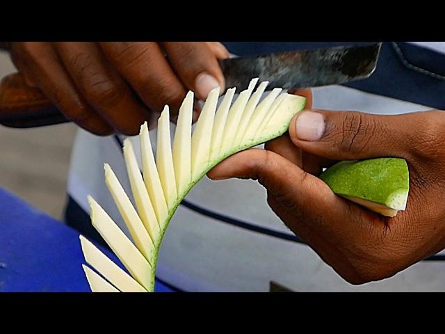 Indian Street Food - AMAZING KNIFE SKILLS Chickpea Salad India