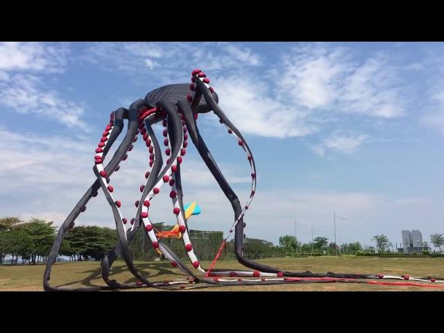 Огромный воздушный змей осьминог