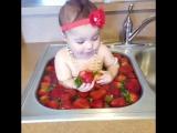 Малышка ест клубничку. Ну просто мимимишное видео!
