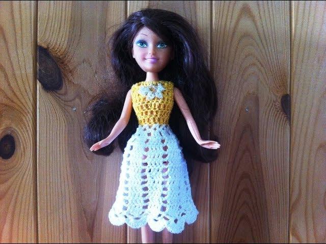 Ажурное платье для куклы крючком с квадратной кокеткой Мастер класс Barbie dress crochet