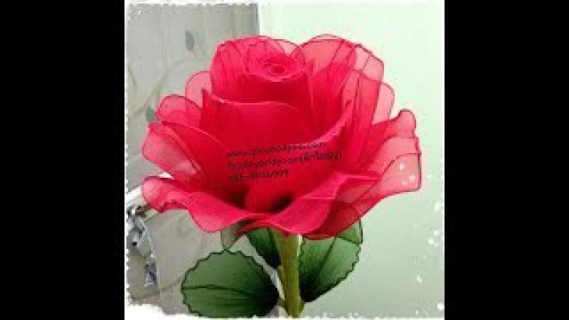 วิธีทำดอกกุหลาบผ้าใยบัว How to make nylon flower ( Big rose) by ployandpoom(ผ้าใย3610