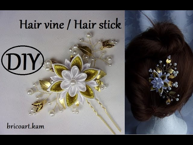 DIY Gold Hair Vine Hair Pin with kanzashi flower Wedding Hairstyle Vigne de cheveux bricoart.kam
