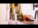 Watercolor Illustration Sunny Backyard for Escoda timelapse work in progress painting by Iraville