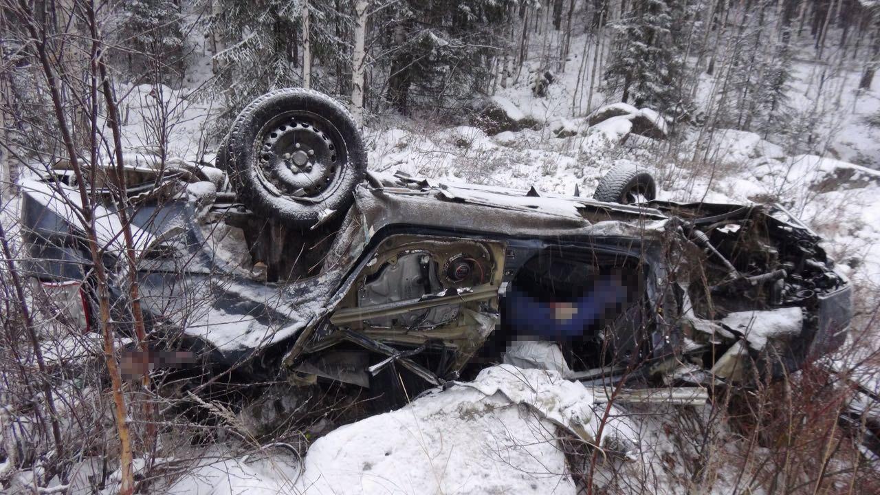 Вблизи Невьянска Шкода улетела вкювет иперевернулась: погибли шофёр ипассажир