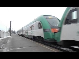 Дизель-поезда ДП3-003 и ДП3-002 с поездом №705 Полоцк-Могилёв.