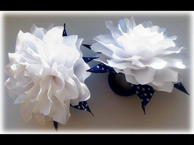 МК Пышный бант на 1 Сентября своими руками Tutorial: Ribbon Bow-Flower/ Kanzashi DIY