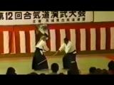 Morihiro Saito Sensei, 1992 demonstration assisted by Pat Hendricks Sensei. Kumi-jo & ken-tai-jo.