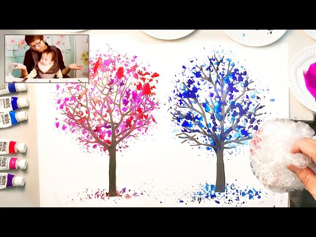Bubble Wrap Painting Technique for Kids | Easy Coloring Trees Creative Fun Art Projects