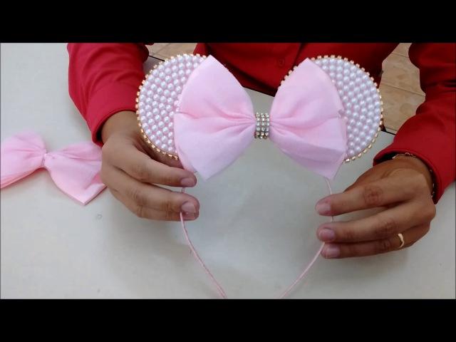 Tiara e faixa de bebê da Minie cor de rosa com pérola - DIY