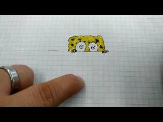 How To Draw: SpongeBob Squarepants / Спанч Боб подглядывает за тобой (Как нарисовать Спанч Боба)