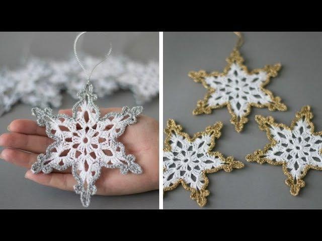 Вяжем снежинки - мотив крючком