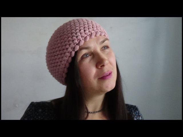 М К Шапочка крючком из пышных столбиков M C Beanie crochet from the lush bars