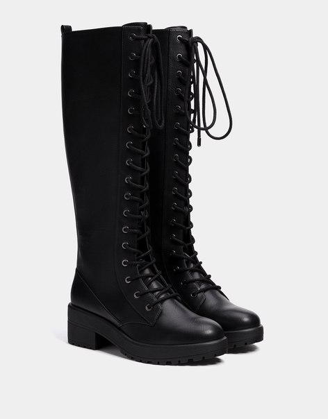 Высокие сапоги со шнуровкой, на платформе