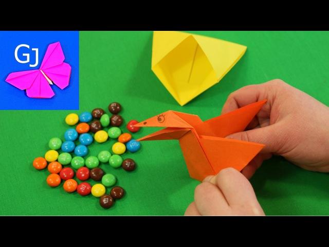 Оригами Сорока Воровка из бумаги