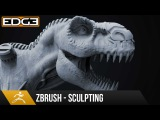#3 Zbrush Sculpting Tutorial for Beginners Series - Organic &amp Hard-Surface T-Rex 1080p HD