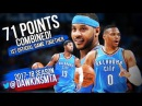 Russell Westbrook, Carmelo Anthony & Paul George 71 Pts Combined 2017.10.19 vs Knicks - BiG 3!
