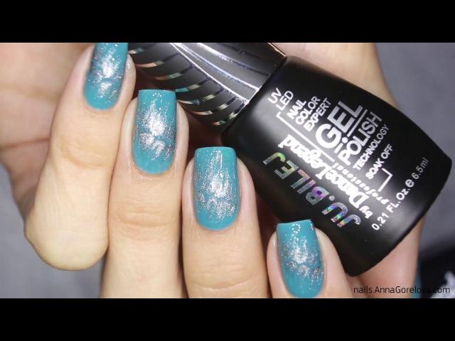 Nail design on wet gel polish with dotter and brush / Дизайн ногтей кистью и доттером по-мокрому