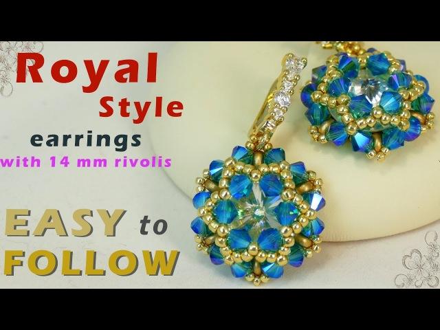 Handmade earrings with 14 mm rivolis tutorial
