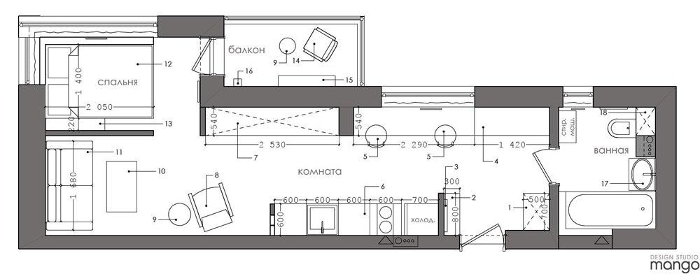 Проект квартиры необычной планировки без метража.