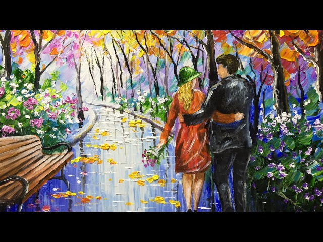 Painting of a couple walking in the park