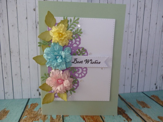Trio of scrunched flowers card
