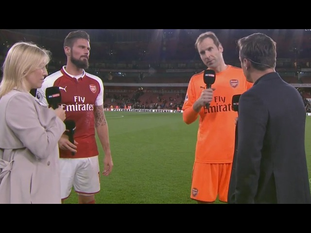 Arsenal vs Leicester 4 3 Petr Cech and Olivier Giroud post match interviews