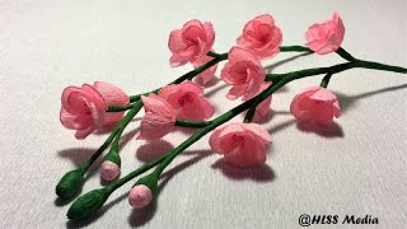 How to make easy beautiful cherry blossom paper flower/diy origami crepe paper flower/paper tutorial