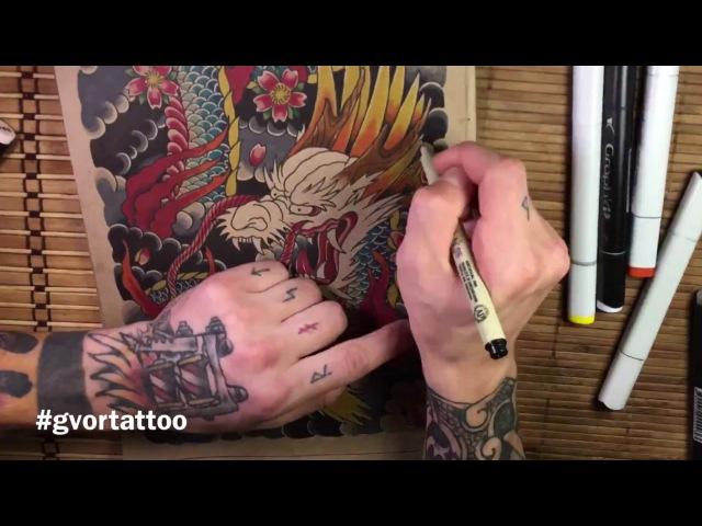 Как я рисую. Японский дракон. Рисование эскизов тату.