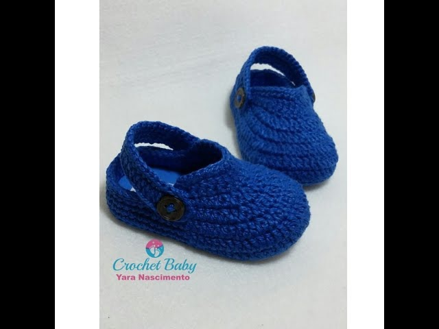 Crocs GUILHERME de crochê - Tamanho 09 cm - Crochet Baby Yara Nascimento