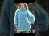 One of a kind mohair sweater in blue by SuperTanya fashion handmade knitwear