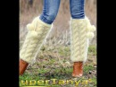 Cable knit ivory mohair gaiters by SuperTanya