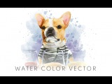 FRENCH BULLDOG WATER COLOR VECTOR ILLUSTRATION time lapse