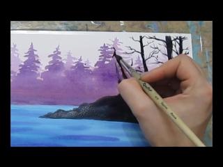 Видео урок Рисуем Акварелью Лесной пейзаж!