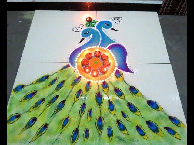 Soft Beautiful Peacock Rangoli /Peacock Kolam Peacock /Muggulu By Latest Rangoli