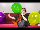 Girl blow to pop big balloon HD