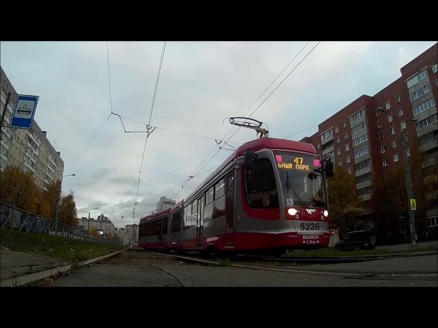 Движение трамваев по съезду на проспекте Авиаконструкторов