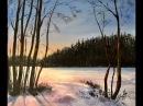 Как рисовать свет в зимнем пейзаже. Акрил How to paint light in Winter scene in acrylic