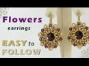 How to make earrings using superduo and swarovski elements