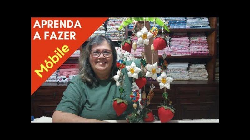 Como Fazer um Móbile de Morangos e Flores de Tecido